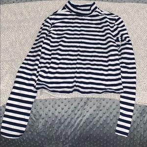 NWOT Forever 21 Navy/White Striped Turtleneck Top